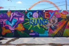 Arte mural na pele de coelho nova Art Walls da atração da arte da rua na seção de Coney Island em Brooklyn Imagem de Stock Royalty Free