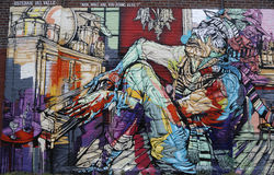 Arte mural na seção vermelha do gancho de Brooklyn Fotos de Stock Royalty Free