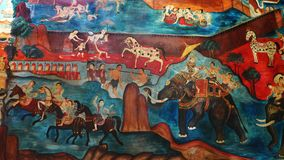 Arte mural tailandesa antiga, reino de Lanna Fotos de Stock Royalty Free