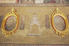 Arte murala che dimostra il punto importante di massaggio al monastero di Wat Pho a Bangkok, Tailandia Fotografie Stock Libere da Diritti