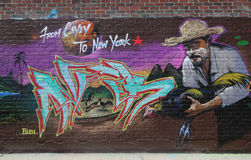 Arte murala di tema del Porto Rico a Williamsburg orientale immagine stock libera da diritti