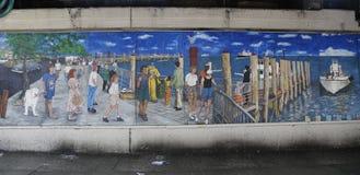 Arte murala nella sezione della baia del sarago americano di Brooklyn Immagini Stock Libere da Diritti