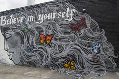 Arte murala nella sezione di Astoria in Queens Fotografia Stock Libera da Diritti