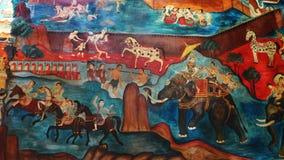 Arte murala tailandese antica, regno di Lanna Fotografie Stock Libere da Diritti