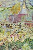 Arte murala tailandese della pittura del festival di Lanna Buddhist fotografia stock libera da diritti