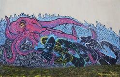 Arte murala in Ushuaia, Argentina Fotografie Stock Libere da Diritti