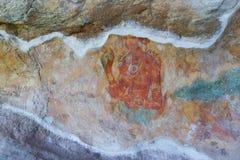 Arte na parede da caverna, Sigiriya, Sri Lanka Fotos de Stock