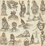 Arte nativa e velha - entregue a coleção tirada no papel velho ilustração do vetor