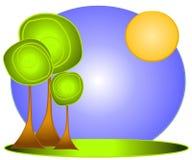 Arte o insignia verde de clip del árbol ilustración del vector