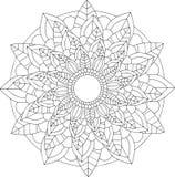 Arte online in bianco e nero Ornamento floreale rotondo geometrico Fotografie Stock Libere da Diritti
