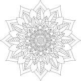 Arte online in bianco e nero Ornamento floreale rotondo geometrico Immagini Stock