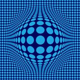 Arte Op abstrata de ilusão ótica com os pontos azuis em escuro - fundo azul ilustração do vetor
