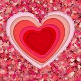 Arte, origami, fiori e biglietto di S. Valentino \ 'concetto di carta di giorno di s, vettore Immagine Stock Libera da Diritti