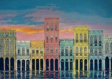 Arte original, pintura de la acuarela de los edificios, casas en un fondo de la puesta del sol, Cuba La Habana de la ciudad imagen de archivo