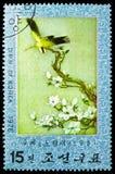 Arte Oriole/Oriolus pretos-naped chinensis, Art Embroidery de Textil: Serie dos animais, cerca de 1976 imagens de stock