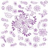 Arte púrpura del garabato de las flores Fotografía de archivo