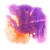 Arte púrpura, gota anaranjada de la pintura de la tinta de la acuarela Fotografía de archivo libre de regalías