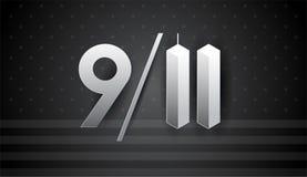 9/11 arte para el 11 de septiembre los E.E.U.U. - bandera del vector del día del patriota, negro Stock de ilustración