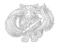 Arte para el libro de colorear con el artista del gato de la historieta stock de ilustración