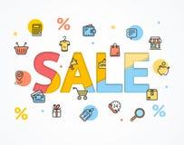 Arte plano y de papel del icono del concepto de la venta Vector Imagen de archivo libre de regalías