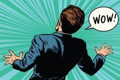 Arte pop cómico retro del miedo del hombre de la reacción del wow