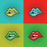 Arte pop caliente del ejemplo del vector de los labios Fotografía de archivo libre de regalías