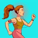 Arte pop corriente de la muchacha Preparación para un maratón en un estilo cómico Ilustración EPS10 del vector Foto de archivo libre de regalías