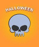 Arte pop de Halloween Cráneo en un fondo anaranjado de puntos Vect Imagen de archivo