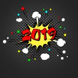 arte pop de la Feliz Año Nuevo 2019 stock de ilustración