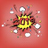 arte pop de la Feliz Año Nuevo 2019 ilustración del vector