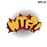 Arte pop de WTF Burbujas cómicas del discurso Vector los ejemplos cómicos dinámicos brillantes aislados en el fondo blanco Fotografía de archivo