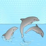 Arte pop E Descanse sobre el mar, tres delfínes juegan en el agua libre illustration