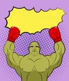 Arte pop grande verde del monstruo del boxeador con un texto vacío de la burbuja Gobli Foto de archivo libre de regalías
