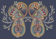 Arte popular étnico del pájaro de dos pavos reales con el florecimiento Fotos de archivo libres de regalías