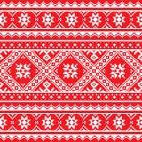 A arte popular ucraniana, eslavo fez malha o teste padrão vermelho e branco do bordado Foto de Stock