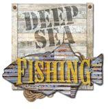 Arte profundo de la muestra de la pesca en mar ilustración del vector