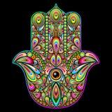 Arte psichedelica della mano di Hamsa illustrazione vettoriale