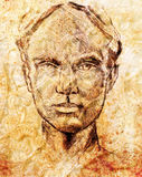 Arte que dibuja la cara de la muchacha y el fondo hermosos de la sepia Imagenes de archivo