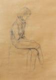 Arte que tira a menina bonita que senta-se em uma cadeira e em um fundo branco Imagens de Stock