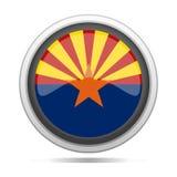 Arte redondo del vector de la ciudad del diseño del símbolo del metal de la bandera de Arizona ilustración del vector