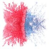 Arte rojo, gota azul de la pintura de la tinta de la acuarela Fotografía de archivo