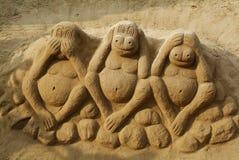 Arte sábia da areia de três macacos Fotografia de Stock