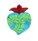 Arte sagrado do bordado do coração no fundo branco imagens de stock royalty free
