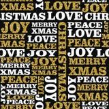 Arte senza cuciture del modello di parola di scintillio dell'oro di Natale Fotografia Stock Libera da Diritti