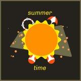 Arte soleggiata di tempo di estate con la roba della spiaggia royalty illustrazione gratis