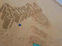 Arte sulla spiaggia del Concha della La immagini stock libere da diritti