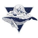 Arte surreale di vettore della balena royalty illustrazione gratis