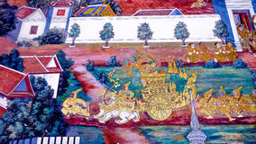 Arte tailandés de la pintura del estilo viejo y x28; 1931& x29; de la historia de Ramayana en la pared del templo de Wat Phra Kae Imagen de archivo