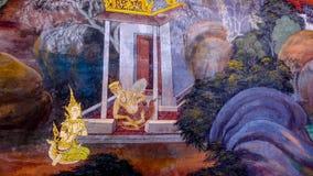 Arte tailandés de la pintura del estilo viejo y x28; 1931& x29; de la historia de Ramayana en la pared del templo de Wat Phra Kae Fotografía de archivo libre de regalías