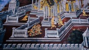 Arte tailandés de la pintura del estilo viejo y x28; 1931& x29; de la historia de Ramayana en la pared del templo de Wat Phra Kae Fotografía de archivo
